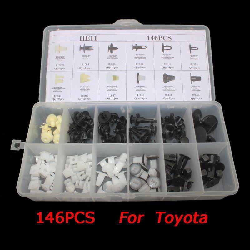 146Pcs Car Body Nylon Push Pin Rivet Fasteners Trim Moulding Clip /& Screwdriver
