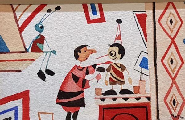 Acquerelli Bambini ~ Acquerello originale pinocchio pinocchio con geppetto dipinto per