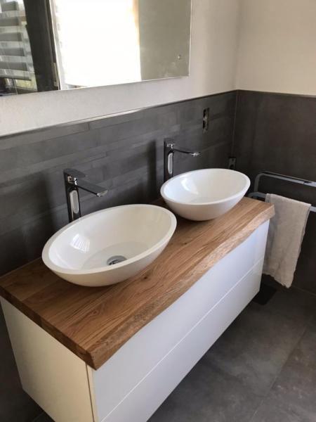 waschtischplatte nach ma aus massivholz eiche buche nu baum oder balkeneiche auch mit. Black Bedroom Furniture Sets. Home Design Ideas
