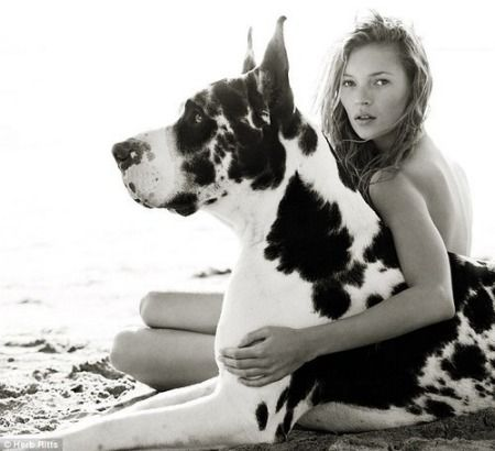 Wow. Herb Ritts, Kate Moss, Vogue, 1997 #celebrities #dogs #photography