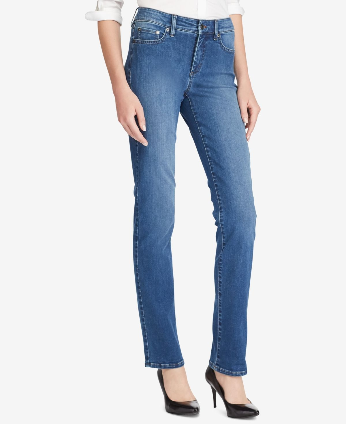 Part of Lauren Ralph Lauren's Ultimate Slimming collection, these Premier straight jeans' high rise and stretch-and-recovery properties make them a flattering choice for day or after dark.
