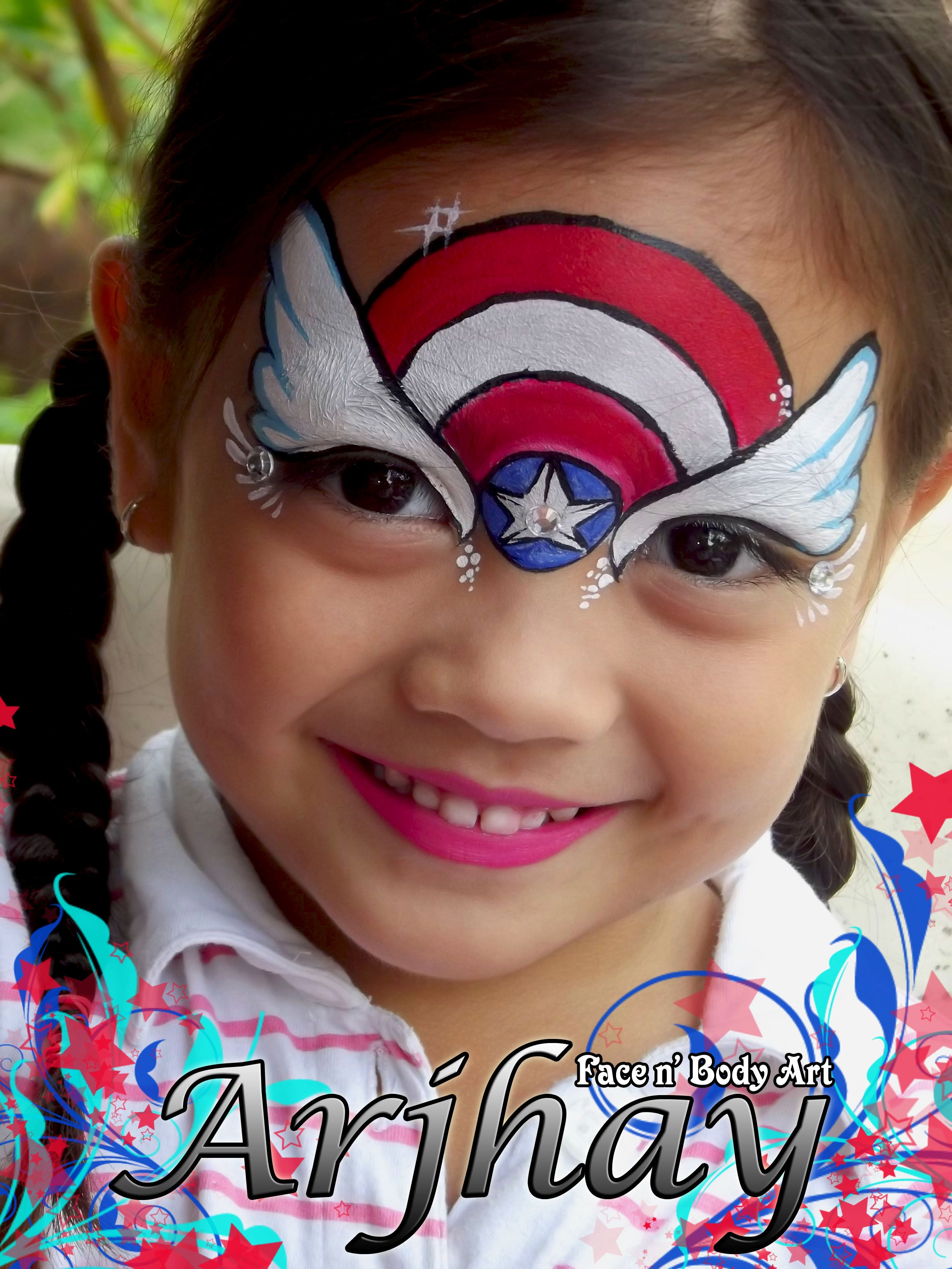 Face painting inspired by captain america pretty girls for Pretty designs to paint