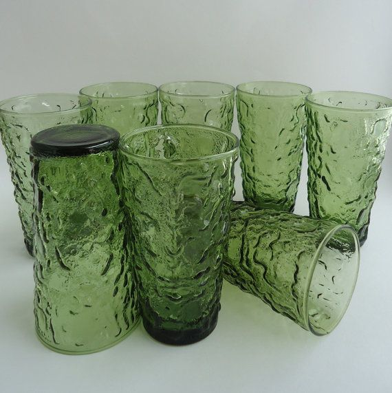 Anchor Hocking Milano Lido Green Glass Tumblers 12 Oz Set Of 8 On Etsy Sold Green Glass Vintage Glassware Glass Collection
