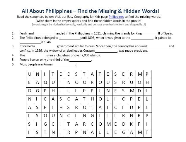 Philippines Worksheet Free Word Search Games Geography For