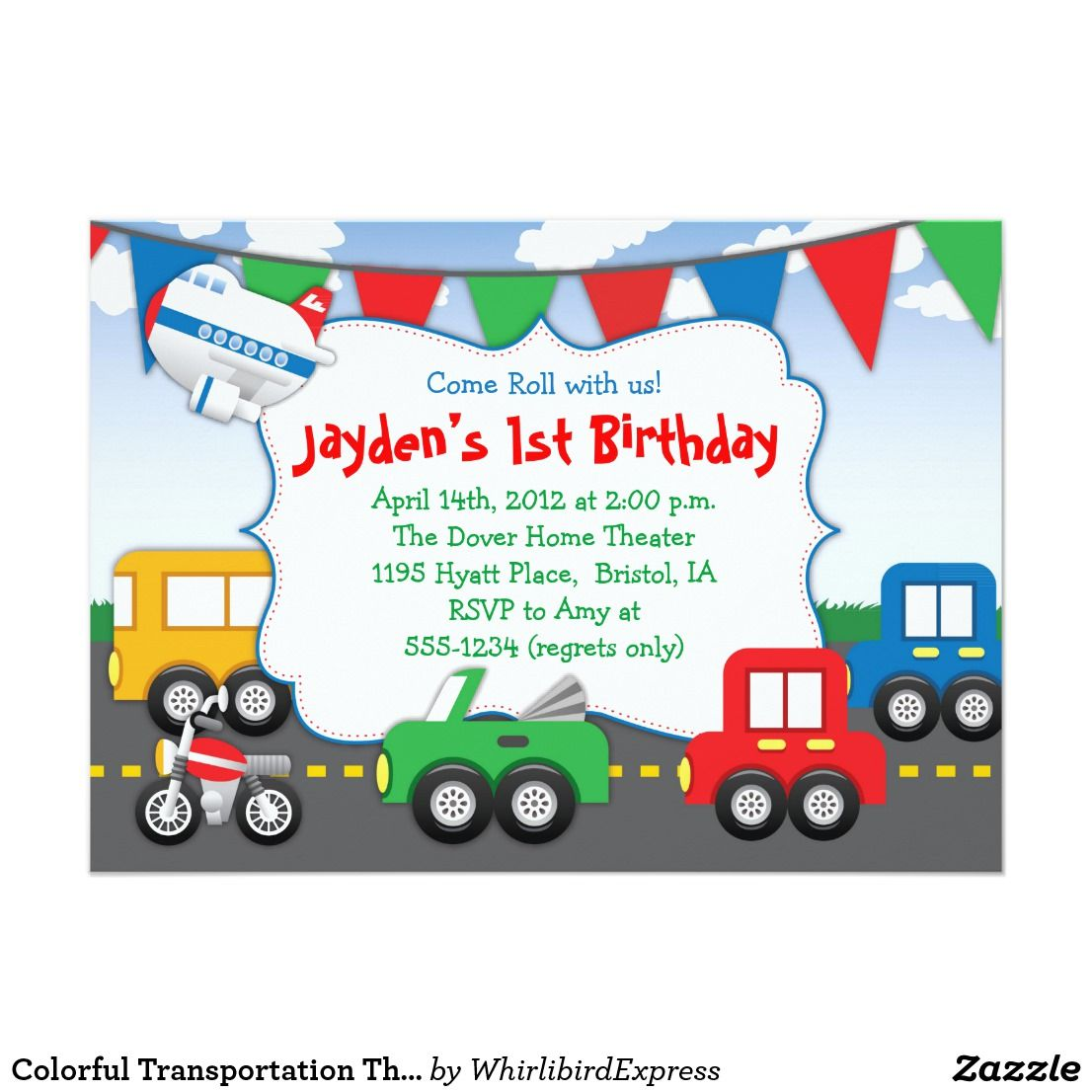 Colorful Transportation Themed Party Invitation Andrew 4th Helicopter Flight Diagram Greeting Cards Zazzle