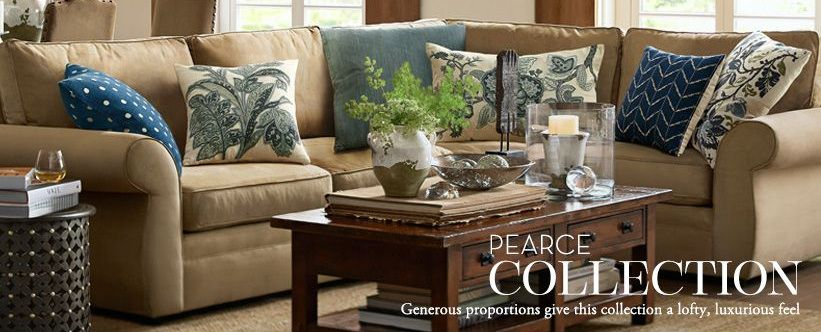 Blue Pillows On Tan Sofa Living Room Decor Pottery Barn