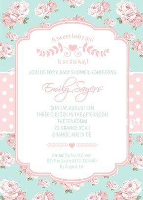 Baby Girl Baby Shower Invitation Shabby Chic Invitation High
