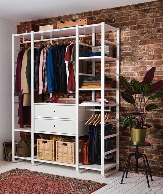 ELVARLI 3 sections - blanc 165x55x216 cm | Rangement habits chambre, Rangement vetement, Chambre ...