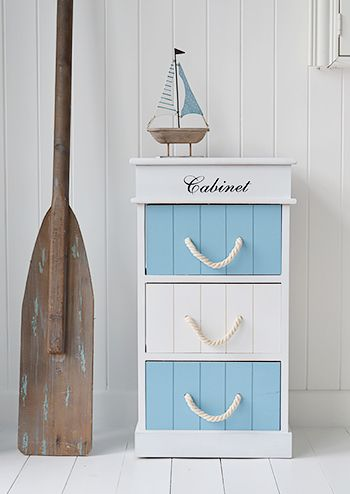 Monterey Coastal Bathroom Cabinet With 3 Drawers For Storage A Nautical