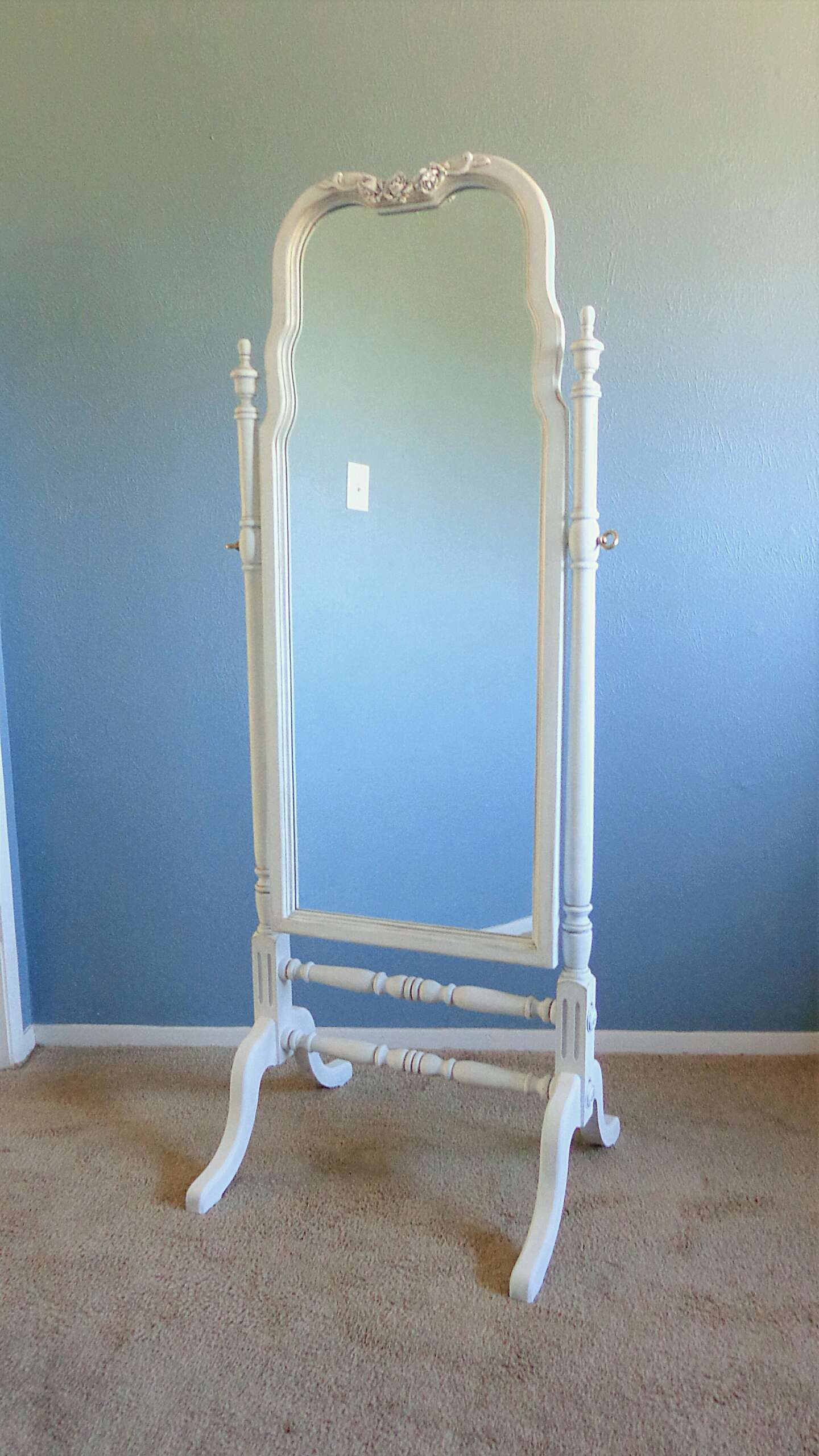 Ornate Full Length Cheval Mirror - French Provincial - Antiqued ...