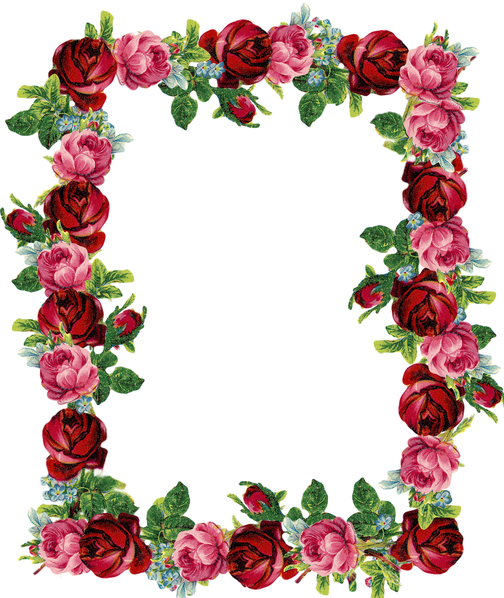 Free Digital Vintage Rose Frame And Border Png Gorgeous Red Rosenrahmen Freebie Vintage Roses Rose Frame Flower Border