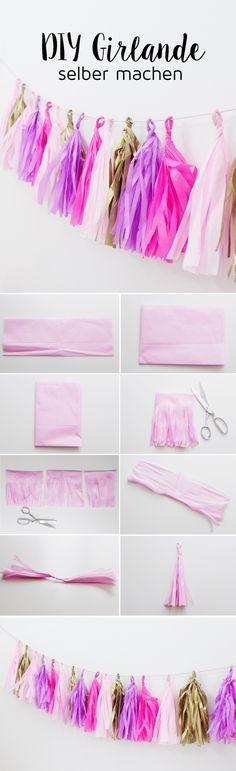 DIY Party Girlande aus Seidenpapier selber machen + Schreibtisch-Makeover #zimmer+deko