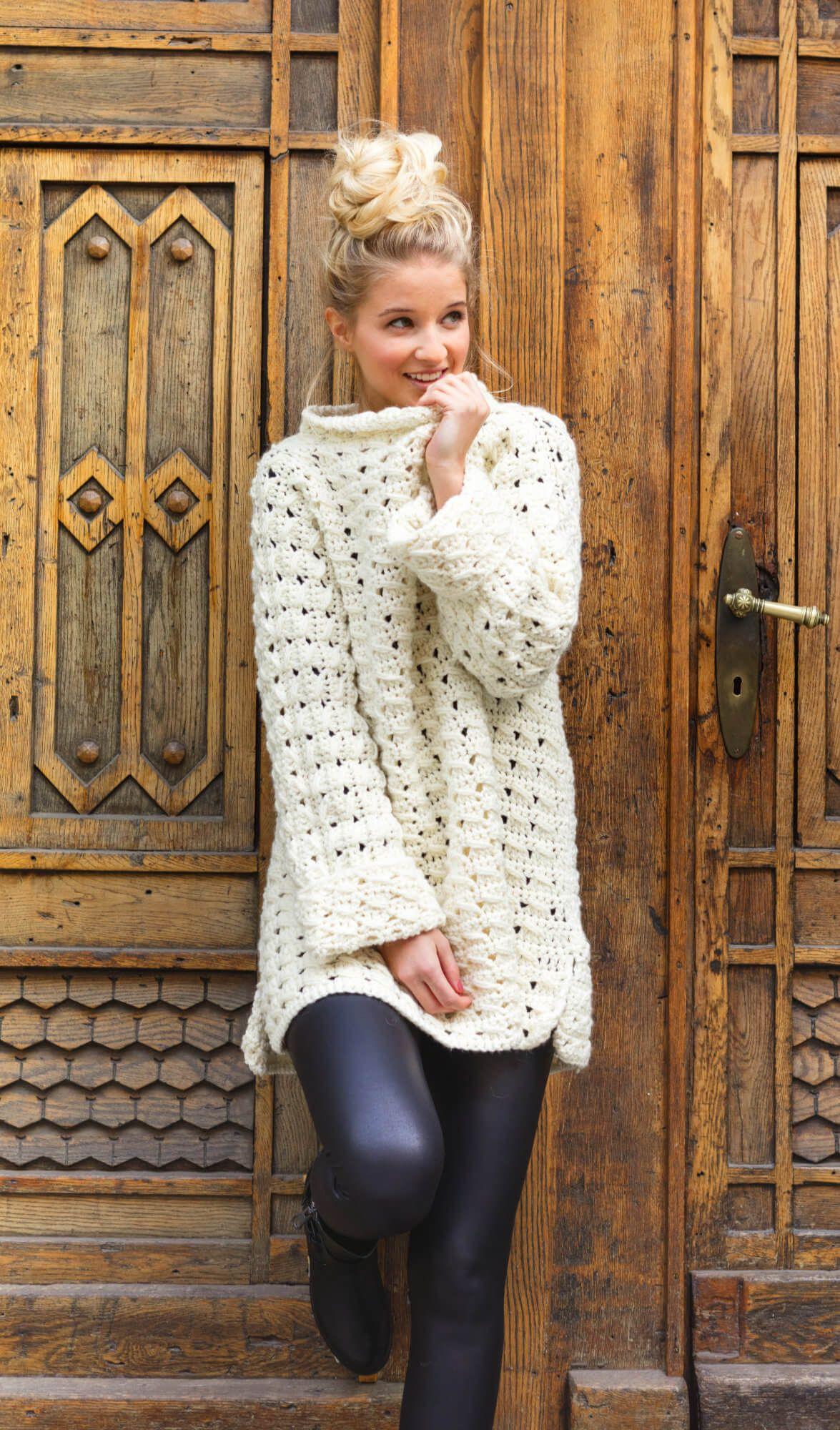Hygge Long-Pulli im Lochmuster | Pullover, Crochet and Amigurumi