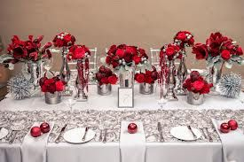 red and silver table setting