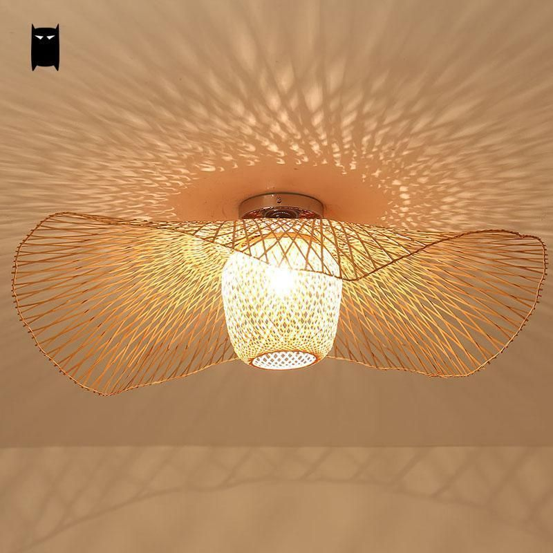 Bamboo Wicker Rattan Shade Cap Ceiling Light Fixture Rustic Magnificent Lamp Bedroom Inspiration
