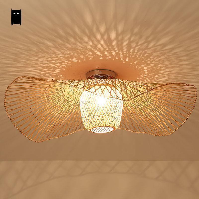 Bamboo Wicker Rattan Shade Cap Ceiling Light Fixture Rustic Magnificent Lamp Bedroom Inspiration