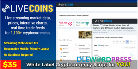 Realtime cryptocurrency market prices on wordpress nulled