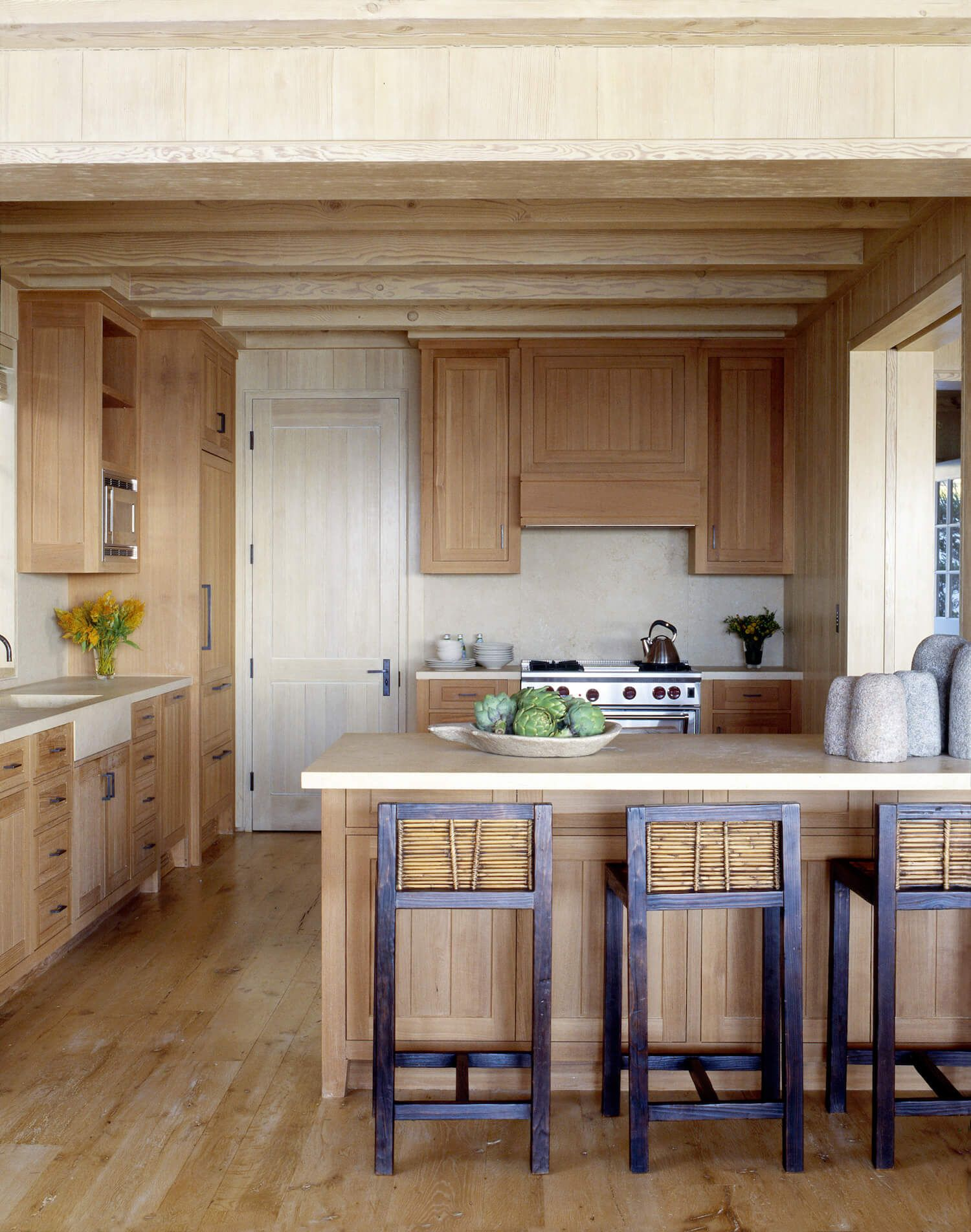The Walls Ceiling Floor And Kitchen Cabinetry Are Lined With A Combination Of Reclaimed Washed White Oak Pale Wood To Absorb Malibu Sunlight