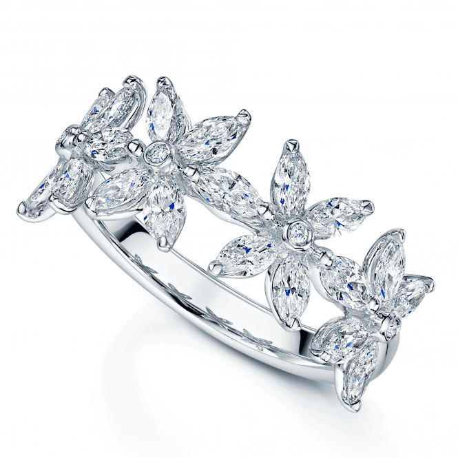 Berry's Platinum Flower Marquise Diamond Claw Set Ring