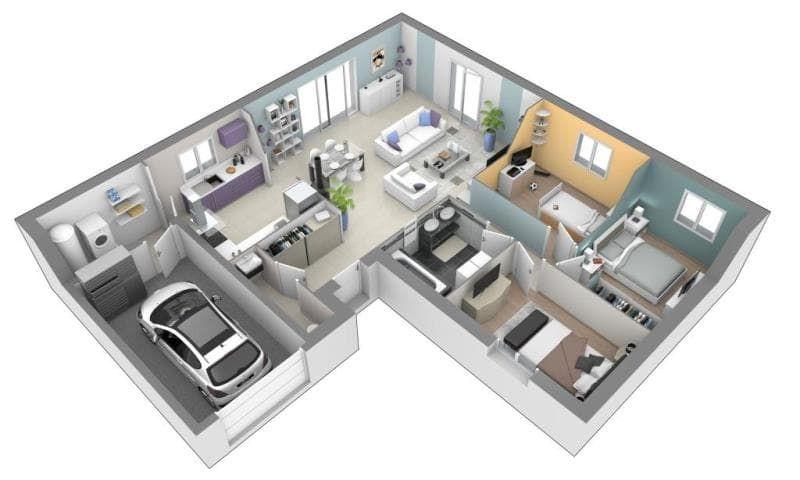 Plan De Maison Avec 3 Chambres L Embarras Du Choix Plan De Maison Moderne Plain Pied Plan Maison 3 Chambres Plan Maison 90m2