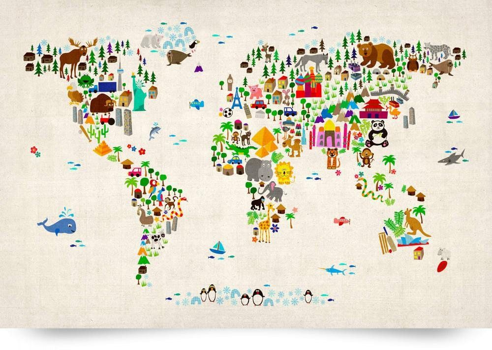 Animal map of the world for children and kids giclee art print animal map of the world for children and kids giclee art print michael gumiabroncs Gallery