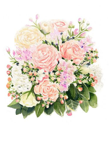 Ivory and Blush Bouquet – Watercolor Print   April Preston Design