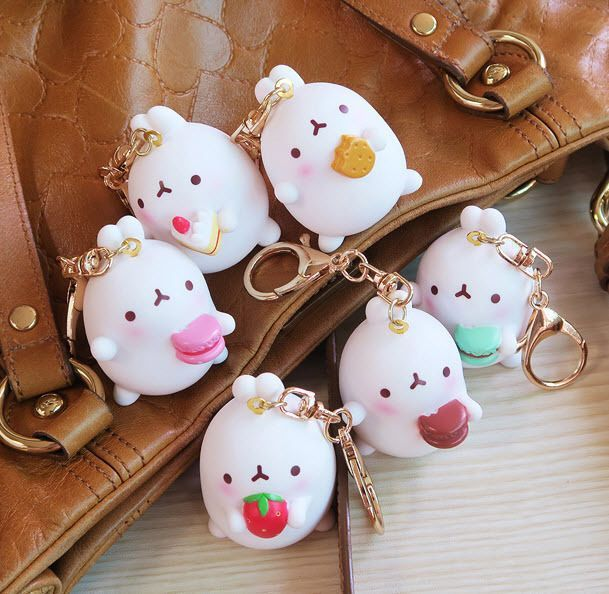 "Molang Mini Figure Key Ring Holder Strap 2"" GOLD Toy Cute Rabbit"