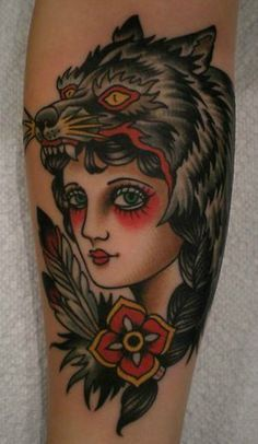 Traditional Wolf Girl Tattoo