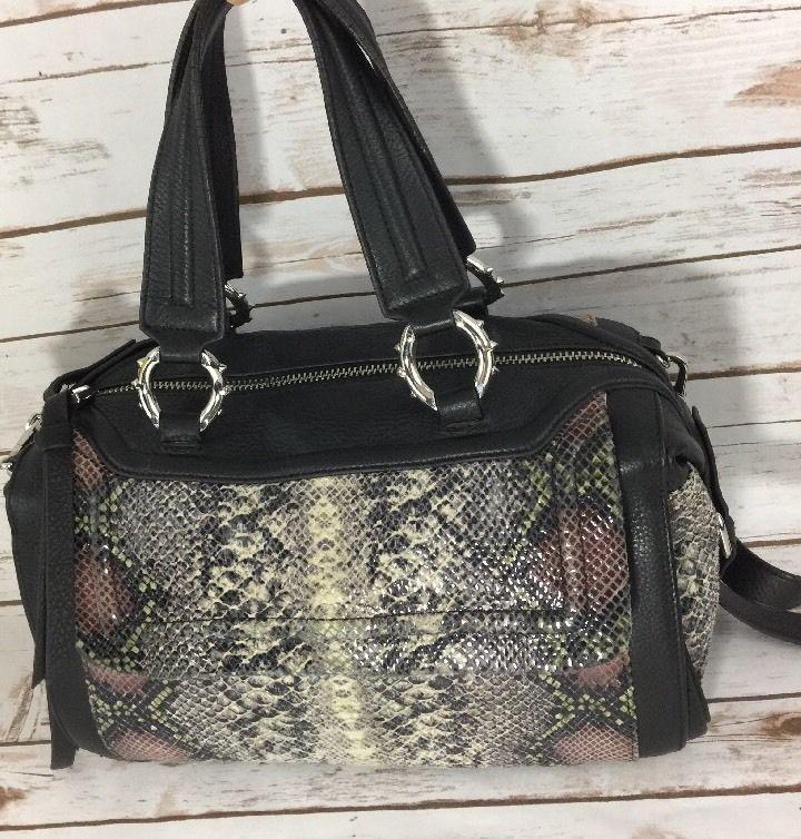 Aimee Kestenberg Large Metallic Snakeskin Print Satchel Bag Handbag Purse  | eBay