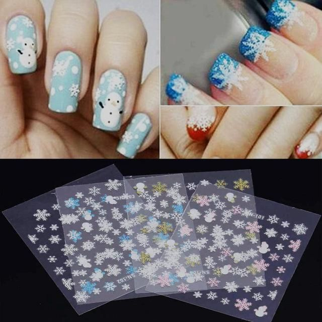 Tomtosh 12 Sheet Christmas 3d Nail Art Stickers Snowflakes Cute