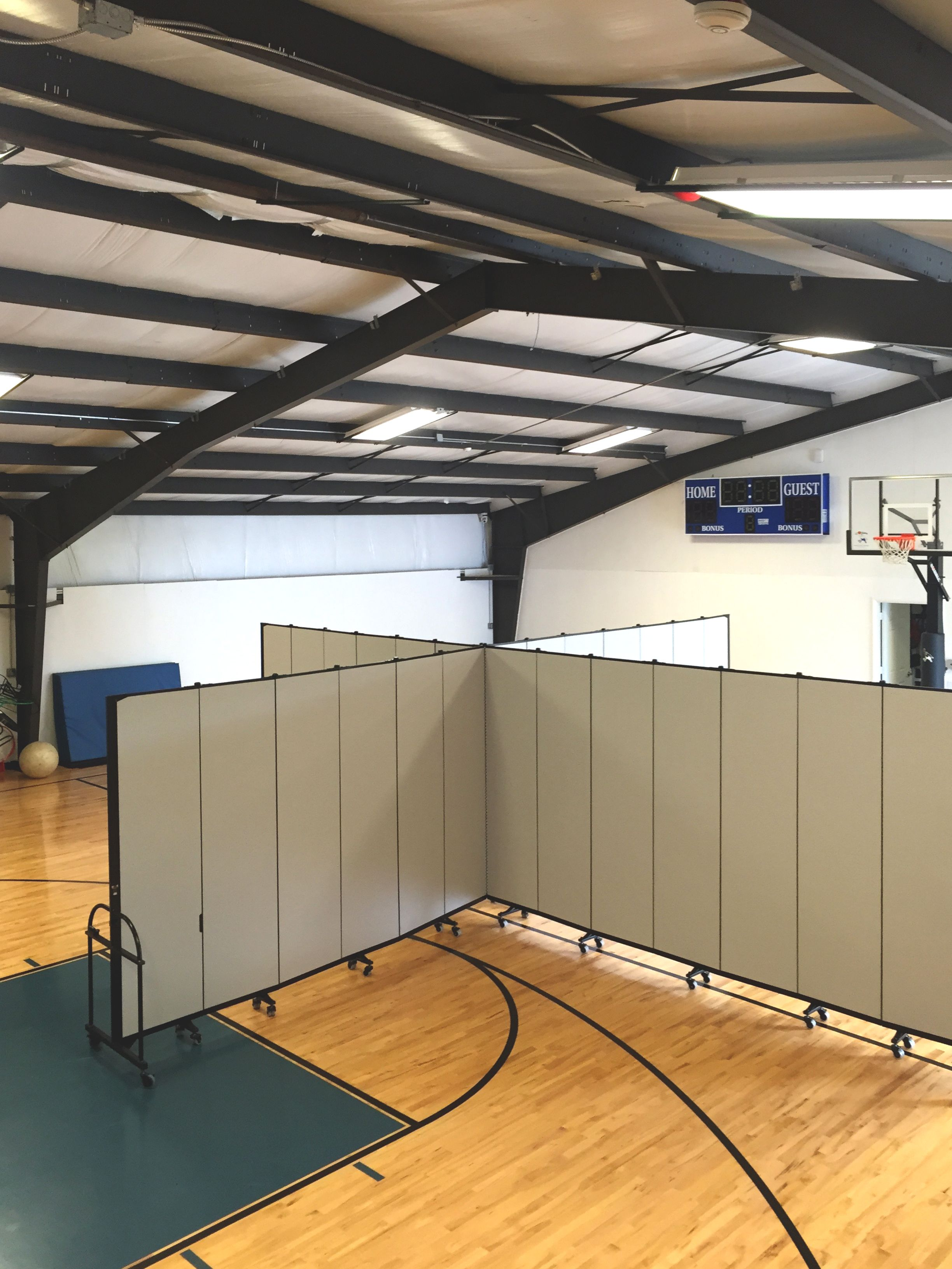 With only one gym available this school divided the space into
