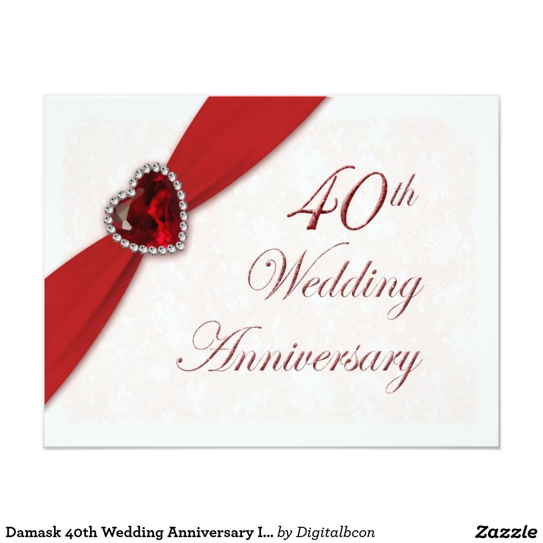 Exelent Ruby Wedding Anniversary Invites Gift - Invitations and ...