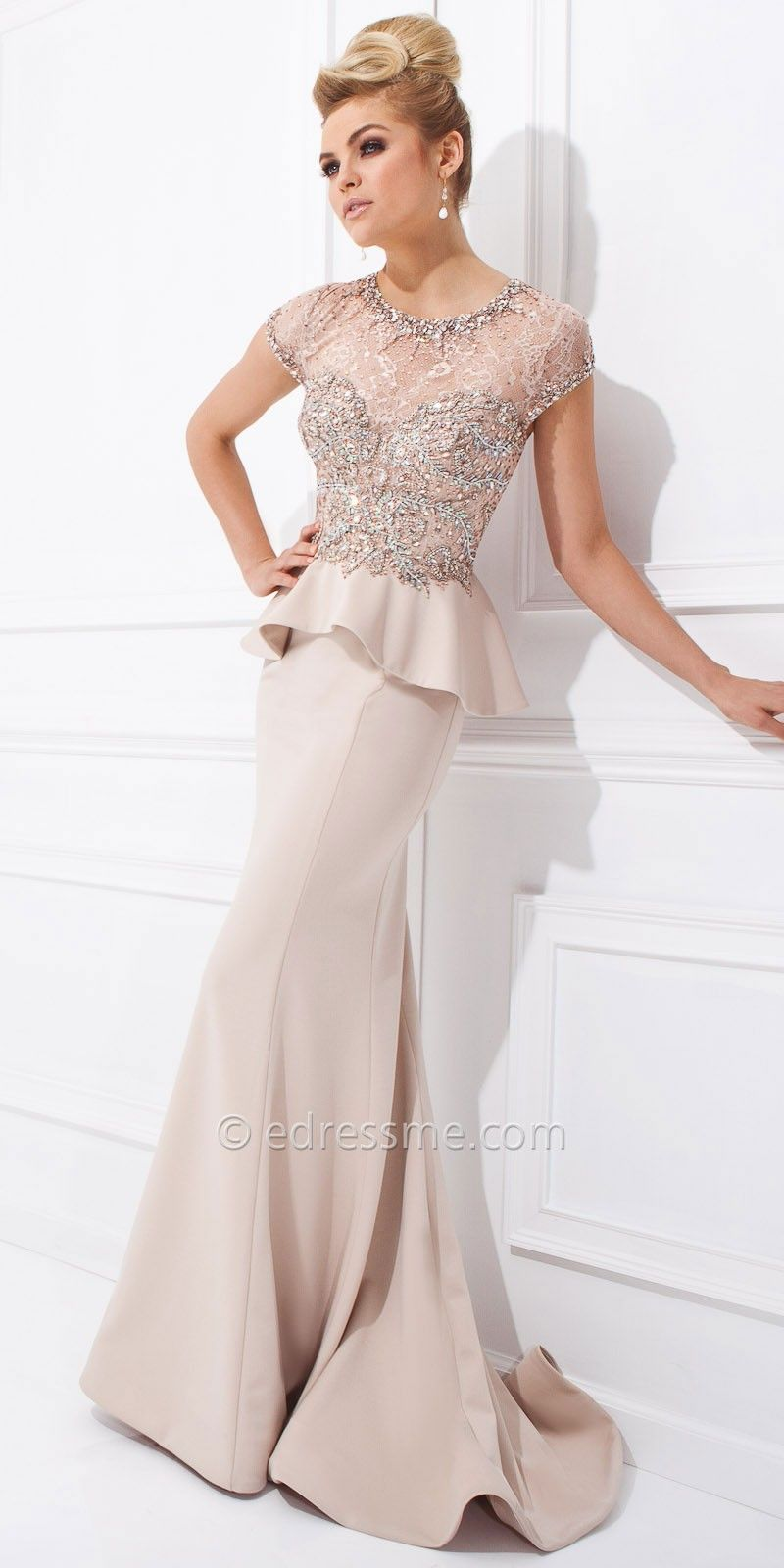 jeweled lace peplum evening dress could be used for bridesmaids but ...