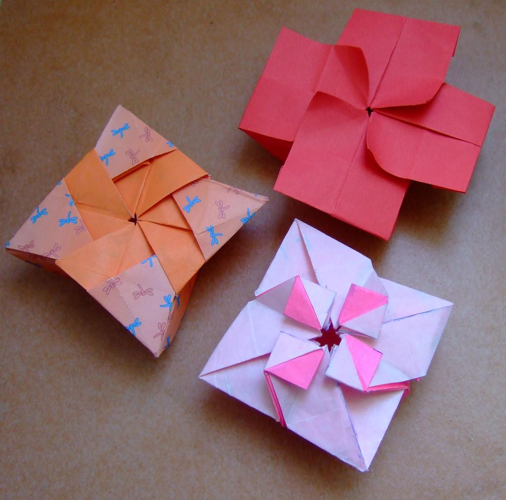Origami Boxes Shruiken Star Box And Flower Box Origami Boxes