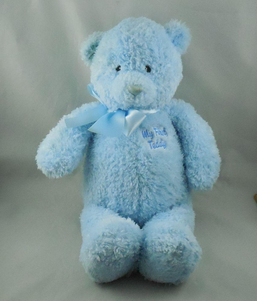 Baby Gund My First Teddy 15 Blue Bear Plush Stuffed Animal Babygund Teddy Bear Teddy Plush Stuffed Animals [ 1000 x 854 Pixel ]