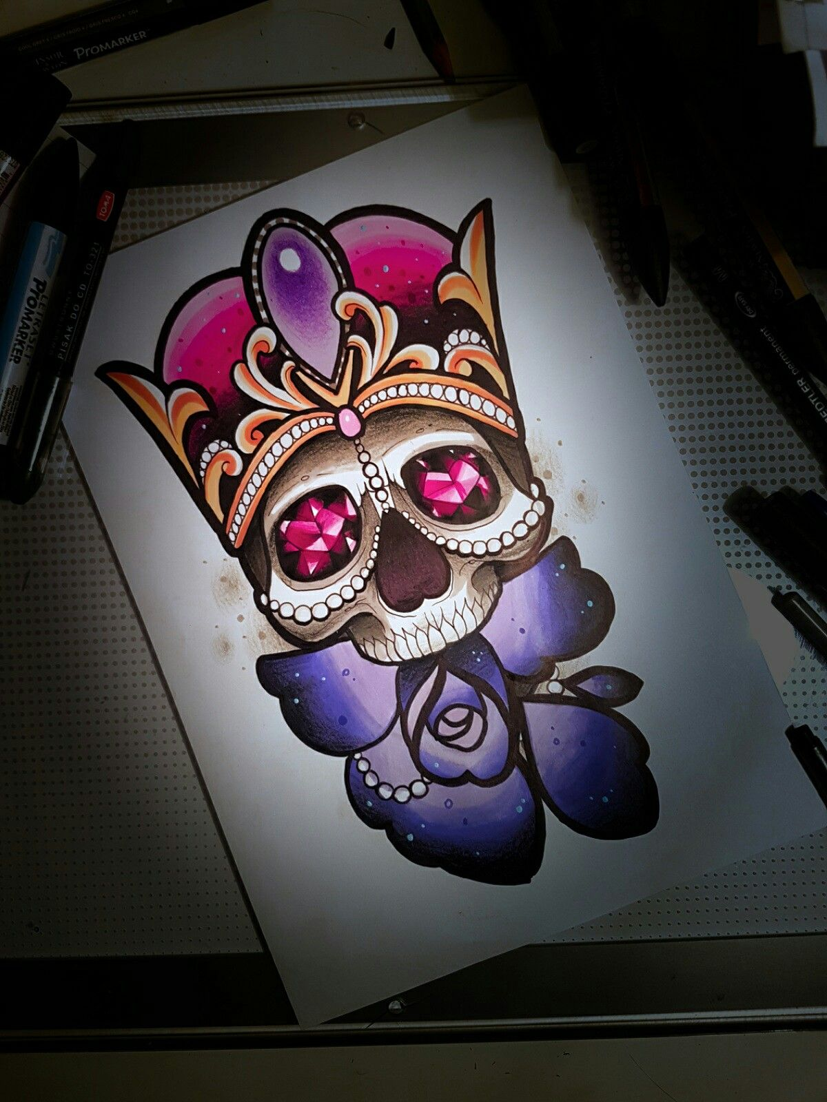 neo traditional tattoo design skull diamond crystal