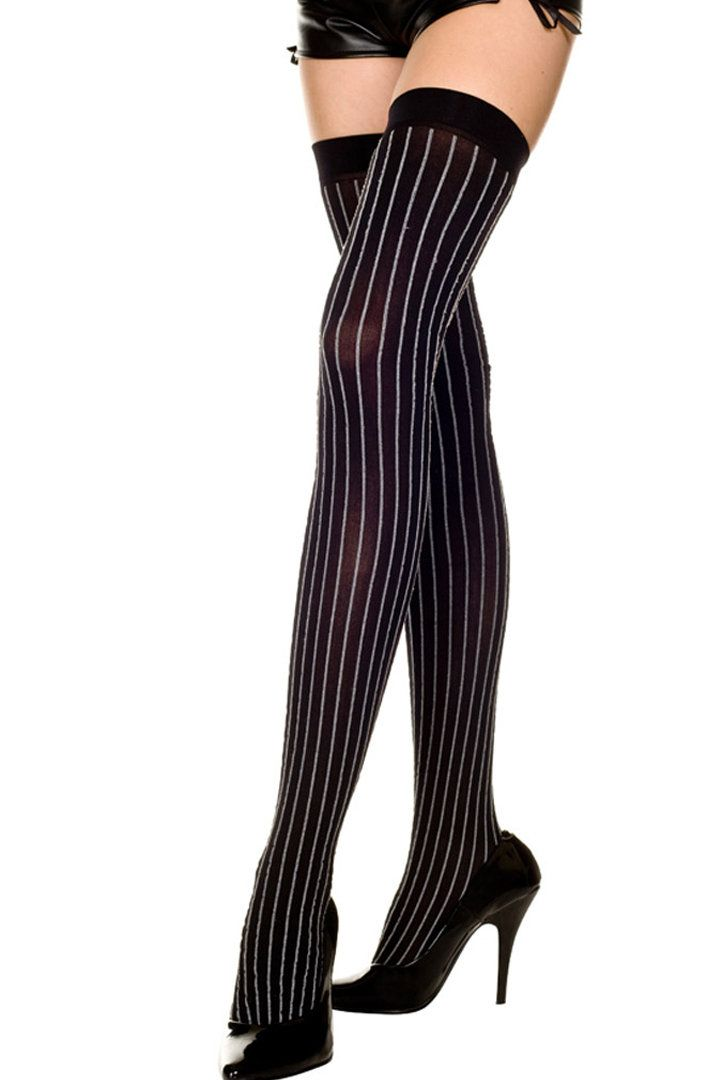 Pinstripe One Size Fits Most Womens Satin Bow Pinstriped Thigh High Stockings