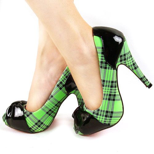 Green Plaid Heels