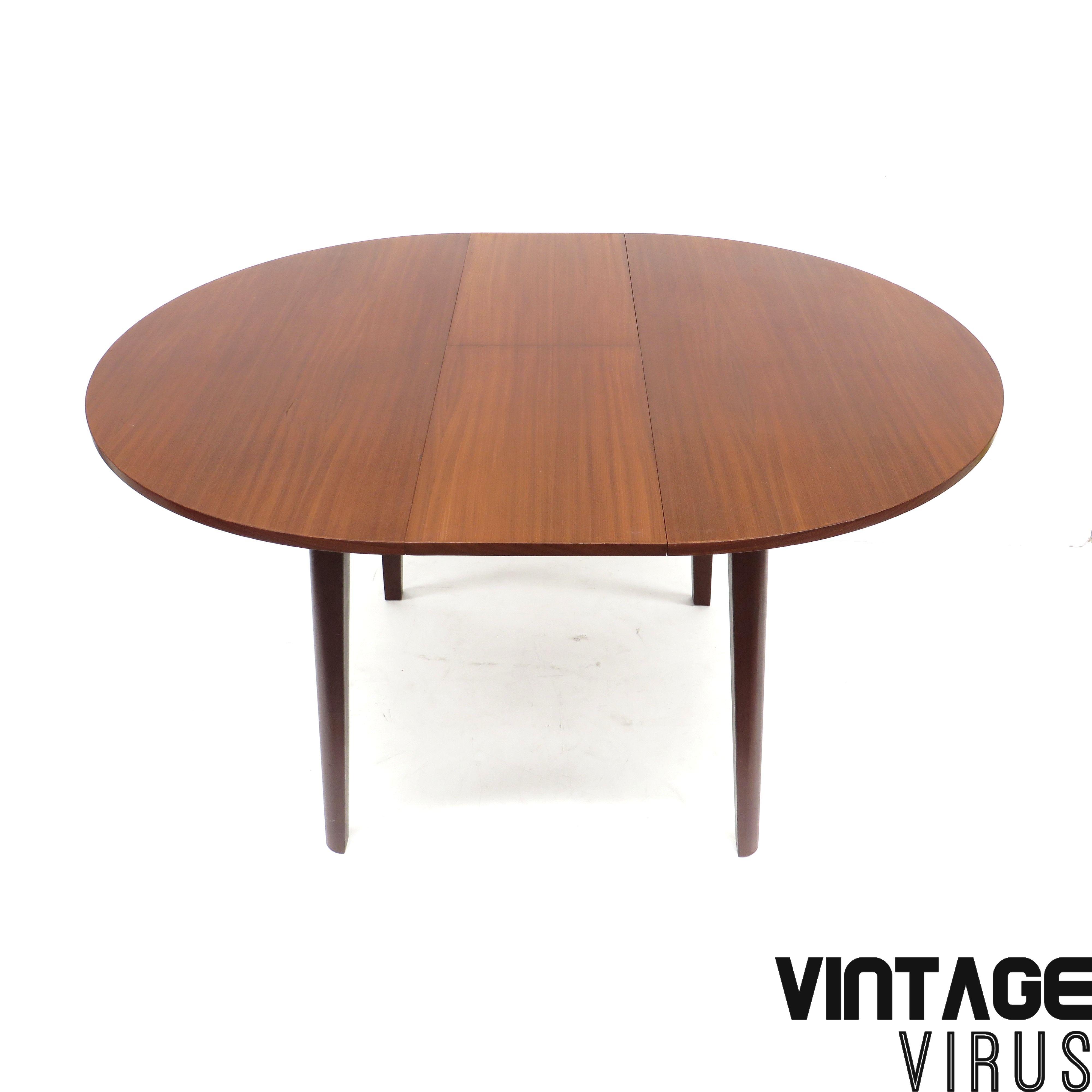 Vintage Ronde Tafel.Vintage Ronde Uitschuifbare Eettafel Van Teakhout Jaren 60
