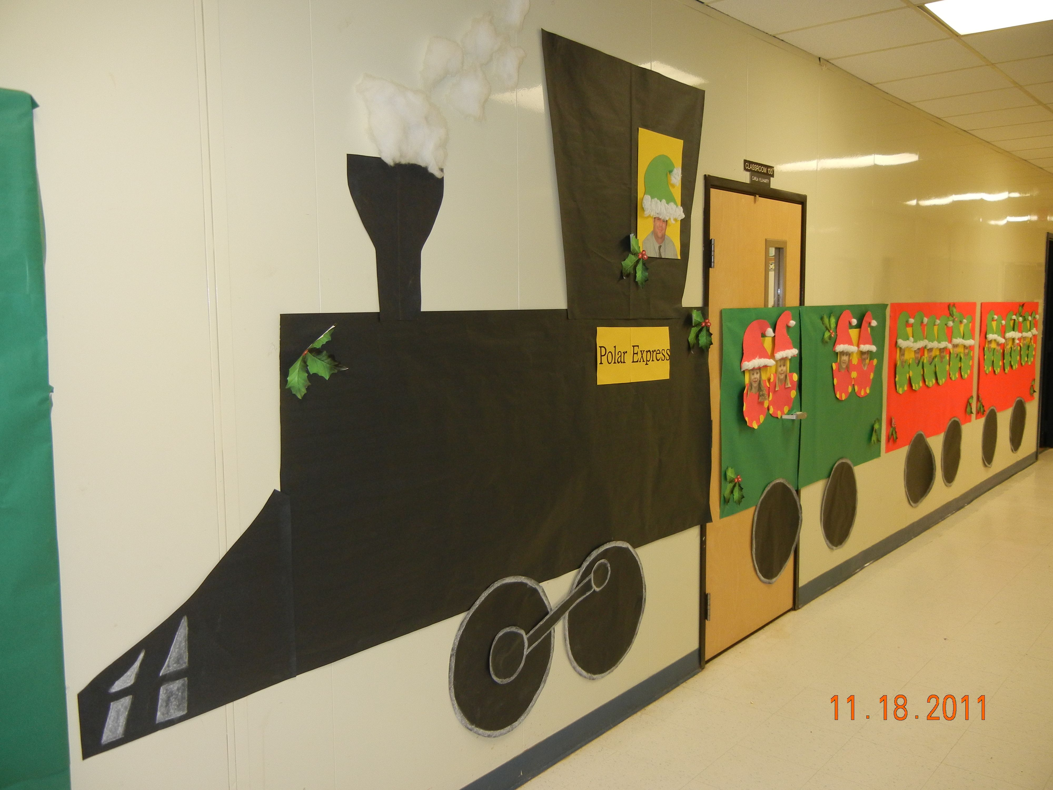 Our Polar Express Train With Photos Of Children In The