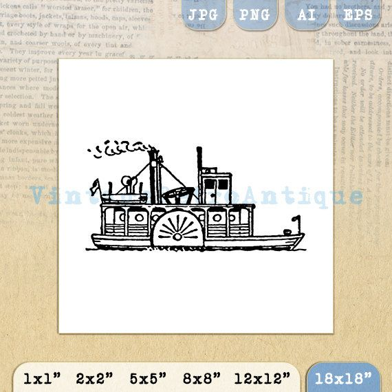 Steamboat Digital Image Graphic Boat by VintageRetroAntique