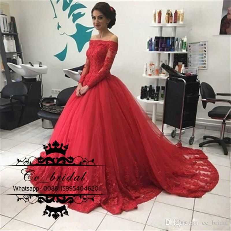 a42df3818a1 2017 Cheap Ball Gown Red Quinceanera Dresses Bateau Off Shoulder Illusion  Long Sleeves Appliqued Tulle Debutante Sweet 16 Dress Plus Size Quinceanera  Dress ...
