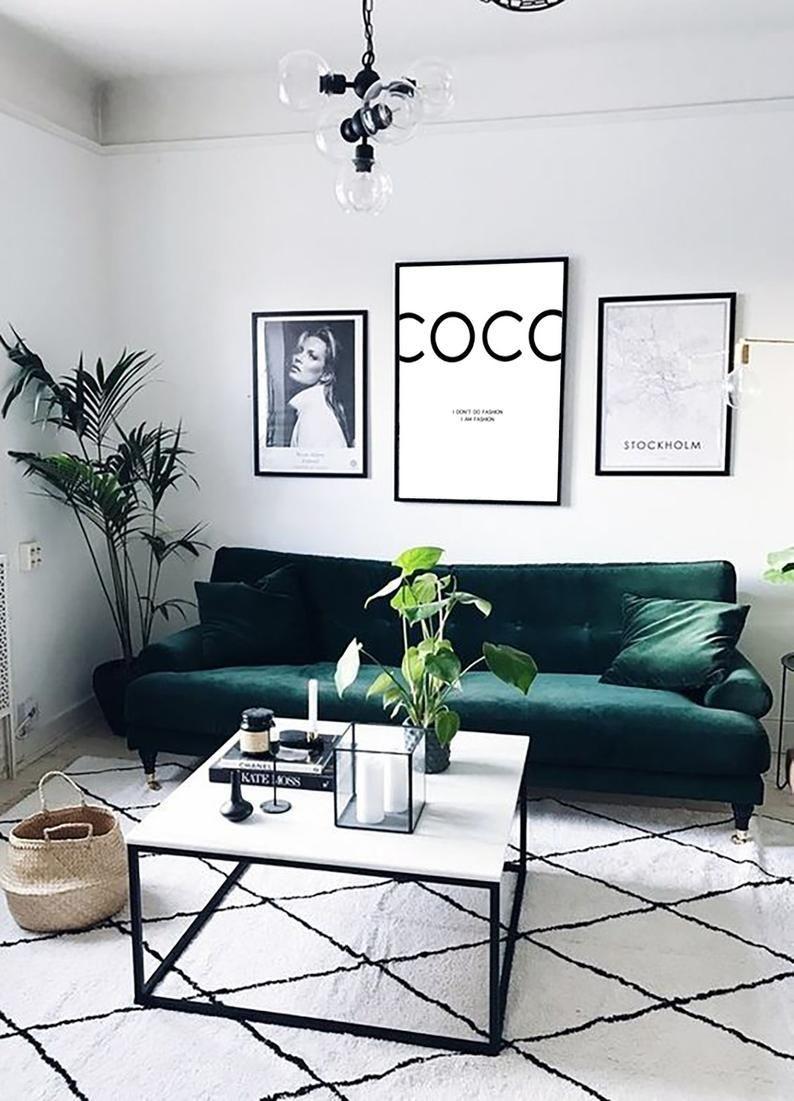 Coco Chanel Coco Chanel Print Fashion Print Coco Chanel Etsy Green Sofa Living Room Living Room Green Living Room Designs