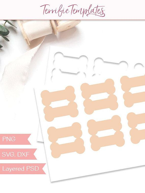 Dog bone gift card template, 3 inches folding gift tag, party