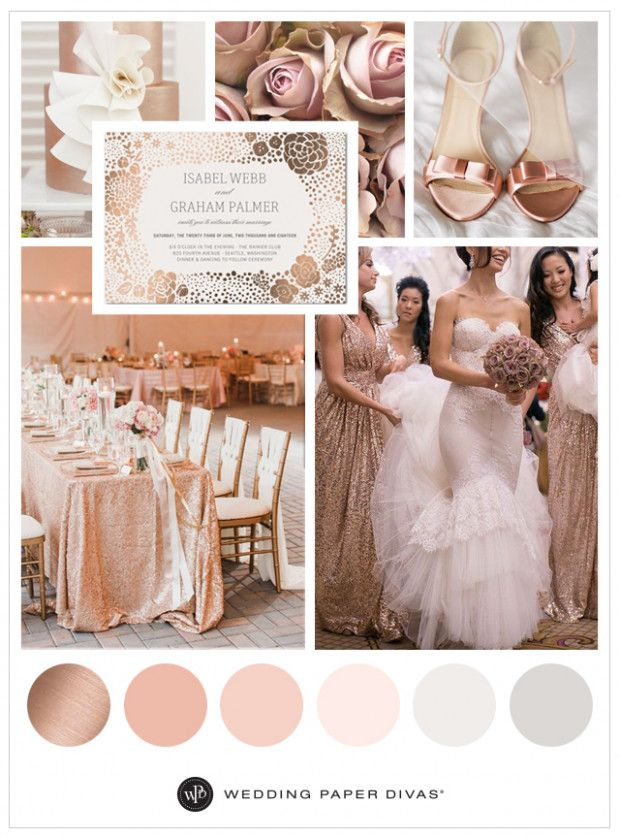 Rose Gold Wedding Party Color Schemes Wedding Rose Gold Theme Rose Gold Wedding Gold Wedding Colors
