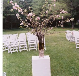Cherry Blossoms In Vase On Pillars Used To Mark Altar Area