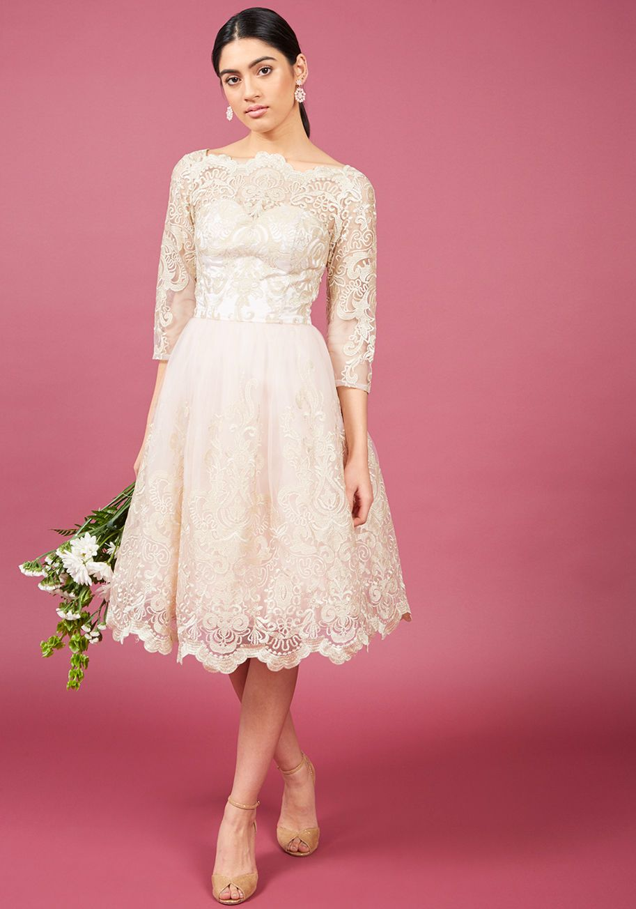 Chi Chi London Gilded Grace Lace Dress in Ivory | Modest Jewish ...