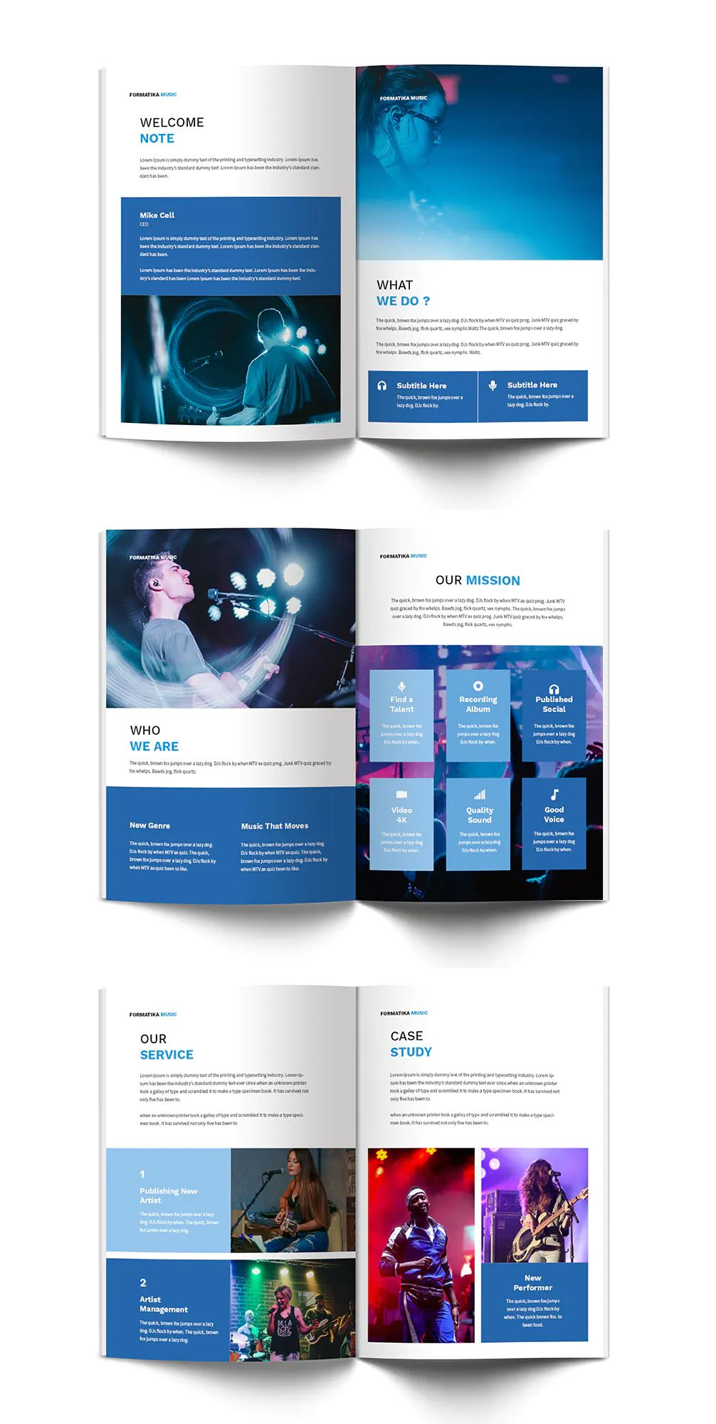 Music a4 brochure template for music producer and music