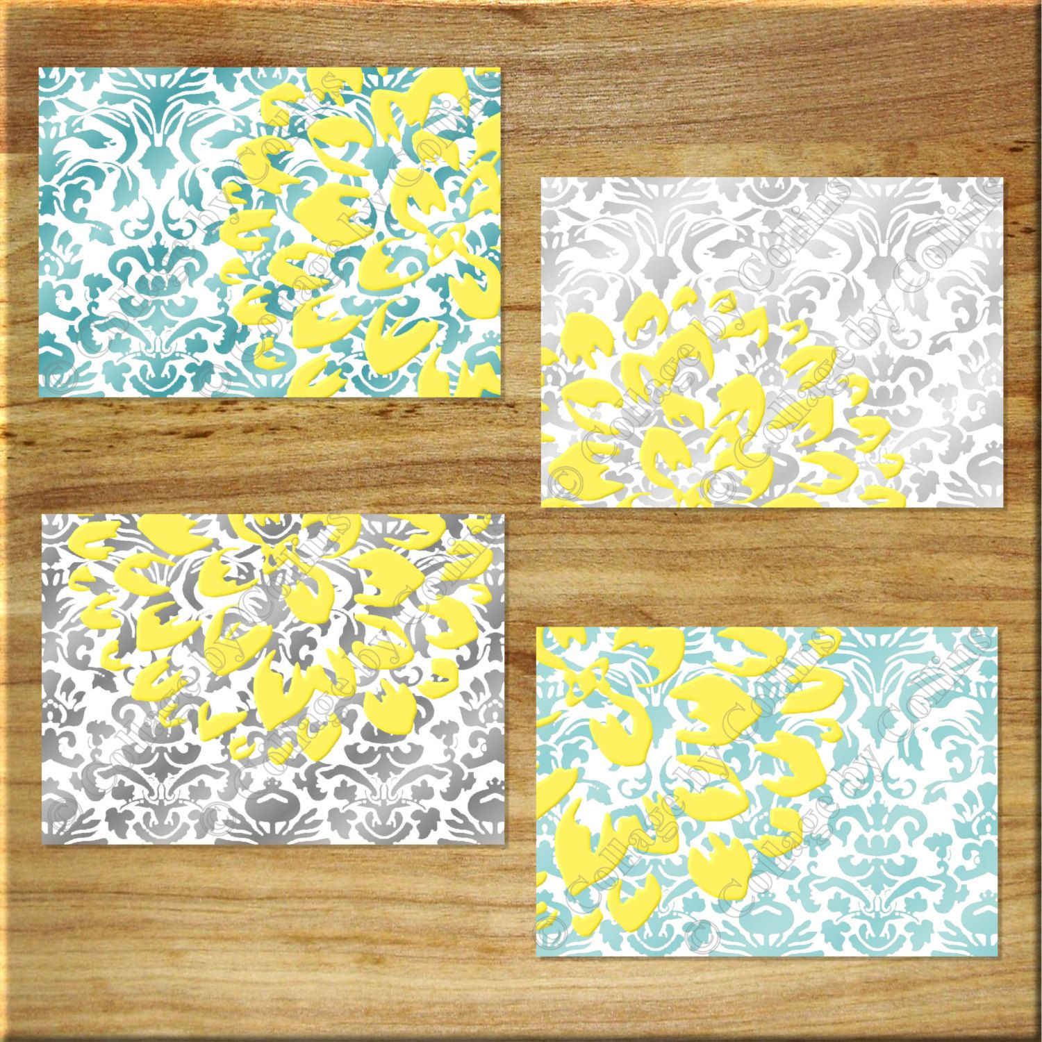 DAMASK design Teal Aqua Gray Yellow Wall Art Prints Decor Floral ...