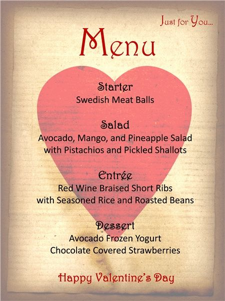 Menu Template For Your ValentineS Day  Valentines Day Dinner